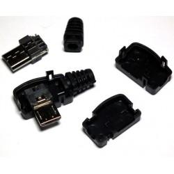 Ficha Macho Mini USB 5 pinos anglo 90º